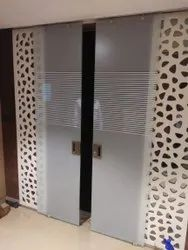 Toughened Clear Sliding Glass Partition