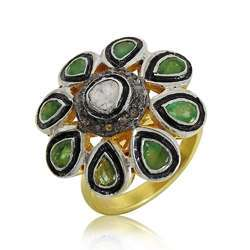 Handmade 925 Sterling Silver Diamond Inlay Emerald Ring