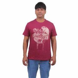 Mens Cotton Round Neck Maroon Printed T Shirt