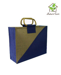 Jute Tesco Style Bag With D Shaped Wooden Cane Handle