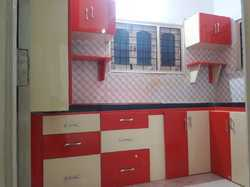 Red And Cream Polished PVC Kitchen Wardrobe