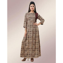 Rayon 3/4th Sleeves Round Neck Printed A Line Gown, Size: M-x