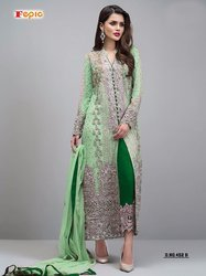 Printed Cotton Georgette With Heavy Embroidery Salwar Suit