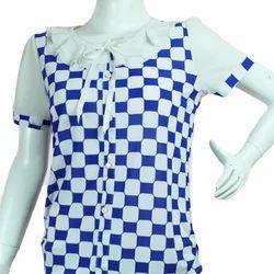 Ladies Half Sleeve White & Blue Top, Size: S & M