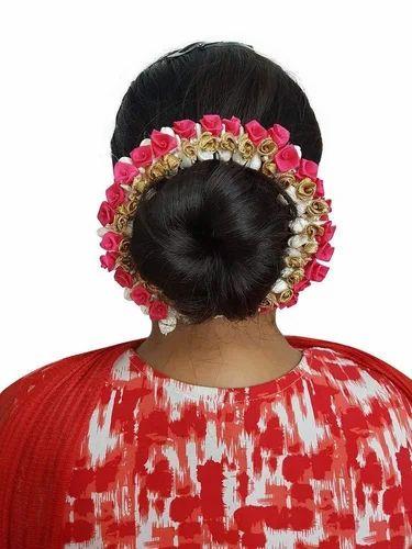 Majik Juda Flowers Hair Accessories Flowers Gajra For Women Pink