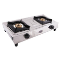 Stainless Steel White Surya Flame 2 Burner Gas Stoves, For Kitchen