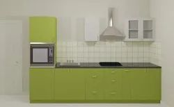 Snow Green Straight Modular Kitchen
