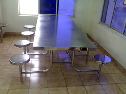 8 Seater Non Foldable Industrial Dining Table