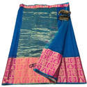 Border Silk Blue Kota Saree, 6 M (with Blouse Piece)