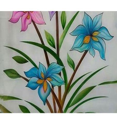 Floral Glass Painting At Rs 550 Piece Glass Paintings Id