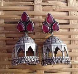 24 gm Silver Look Alike Brass Earrings
