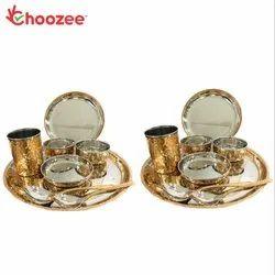 Choozee - Copper Thali Set of 2 (16 Pcs) of Plate, Bowl, Spoon & Glass