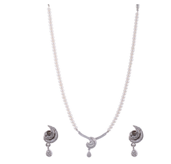 Swati Pearls&jewellers White Silver Necklace Set For Women (2HAS15)