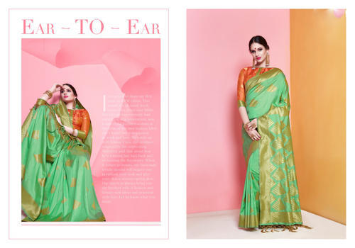 Art Silk Partywear Printed Banarasi Saree with Blouse Piece, Saree Length: 5.5 m
