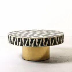 Maharaja Handicraft 39x39x18 Inch Bone Inlay Center Table, Center Table, Boneinlay Table, Brass Bess, Size: 42*42*21