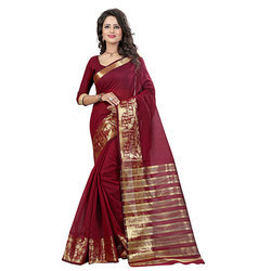 Polyester Cotton Saree, Hand, 5.5 m (separate blouse piece)
