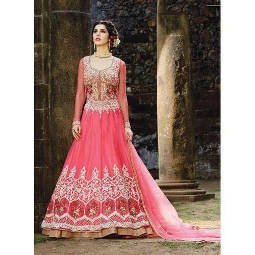 431a170184d Party wear Embroidered Pink Net Embroidery Semi Stitched Anarkali Suit