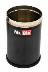 Black Plain Round Bin