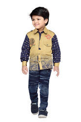 Fawn Cotton Kids Shirt And Jeans Set, Size: 22to32