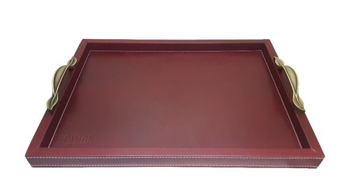 Brown Leather Serving Trays With