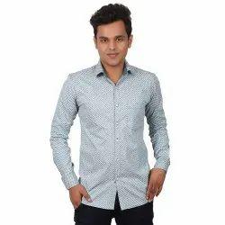 Casual Slim Fit Vida Loca Blue Color Cotton Designer Printed Shirt For Men