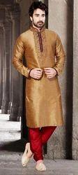 Brown Raw Silk Exquisite Raglan Sleeves Men's Dupioni Raw Silk Readymade Kurta