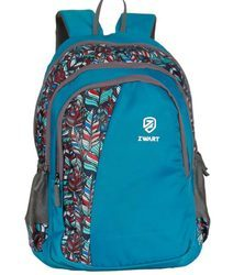 Blue Leaf Print Pencil Pouch Backpack