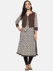 Yash Gallery Women's Cotton Straight Kurta With Jacket