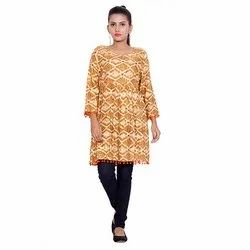 Brown And Black Printed Kurti
