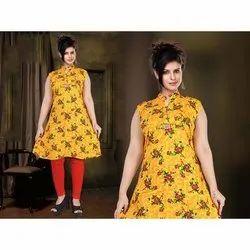 Fancy Floral Printed Rayon Kurti, Size: M-XXL