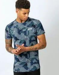 Men Round Full Printed Polyester T Shirt