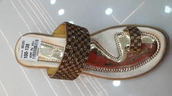 Golden Party Wear Ladies Designer Shoe