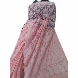 Georgette Pink Chikankari Embroidered Saree, Size : 5.5 meter