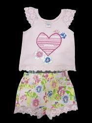 Girls Rose Buds Regular Wear Summer Sets, Size: 12M - 4T