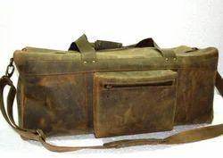 Front Pocket Vintage Leather Duffel Bag