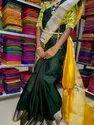 Black Festive Wear Uppada Silver Border Plain Handloom Silk Saree