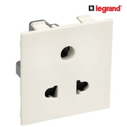 6 Amp White Legrand Britzy 6A 3 Pin 2 Module Universal Electric Socket