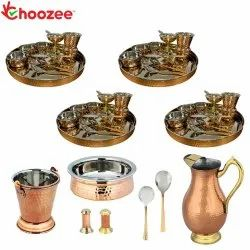 Choozee - Set of 4, Stainless Steel Copper Thali Set with Serveware