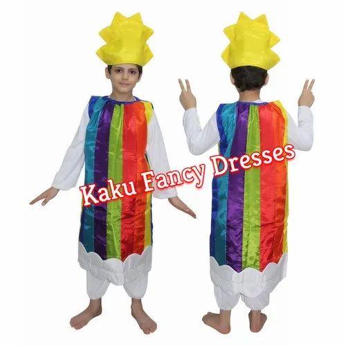 Multicolor Polyester Kids Rainbow Costume, Age: 3-4/5-6/7-8