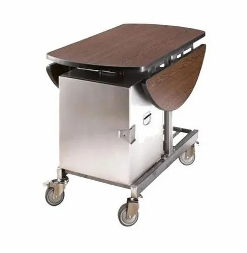 Stainless Steel,Wooden Room Food Service Trolley