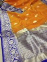 Lemon & Blue Pure Handloom Kaduwa Kota Katan Silk Saree