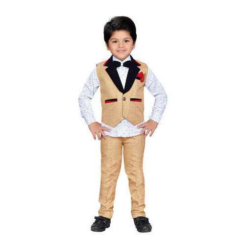 Blended Cotton And Jute Party Wear Kids Waistcoat Shirt And Pant