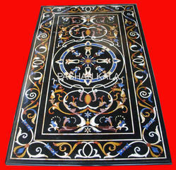 Black Marble Inlay Dining Table Tops