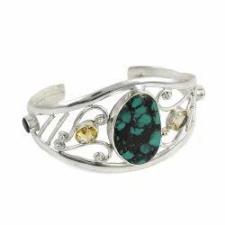 925 Sterling Silver Turquoise Citrine Garnet Bangle