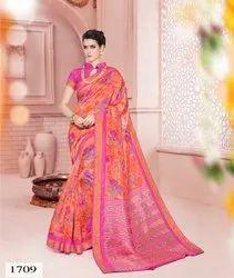 Mix sarremall Designer Cotton Saree, Machine Made, 6.3 m (with blouse piece)