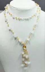 925 Sterling Silver Citrine With Crystal Furnished Necklaces