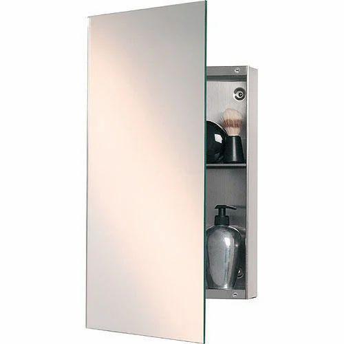 Stainless Steel Silver Bathroom Mirror Cabinet