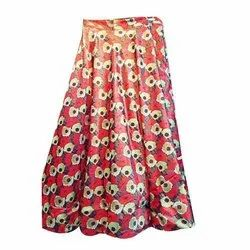 Lycra Cotton Multicolor Ladies Fashion Printed Skirt, Size: Free Size