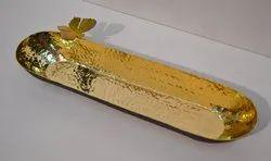 Long Oval Shape Brass Bowl, Packaging: MDF Box