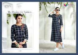 Handloom With Weaving Checks Denim Silk Slub Kurtis For Ladies